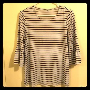 White and Black Striped Top with Ruffle Sleeves